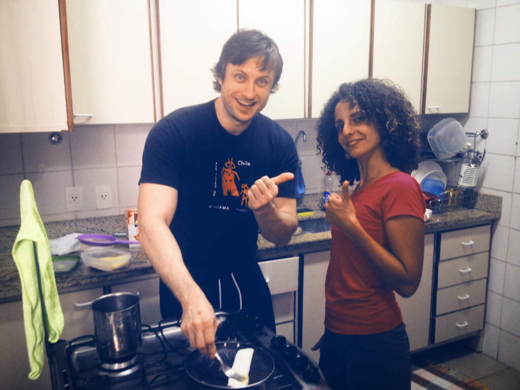 Learning how to cook tapioca with couchsurfing host