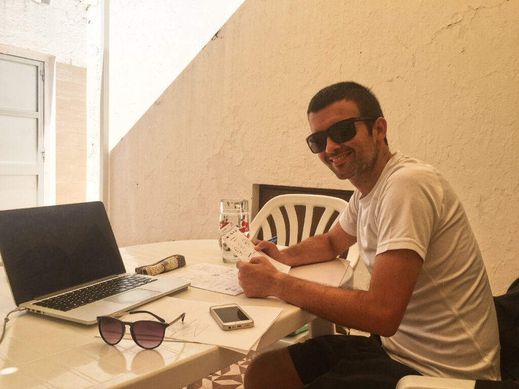 working while near the beach in Portugal